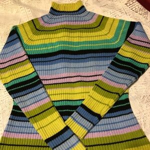 Multicolored striped high neck sweater